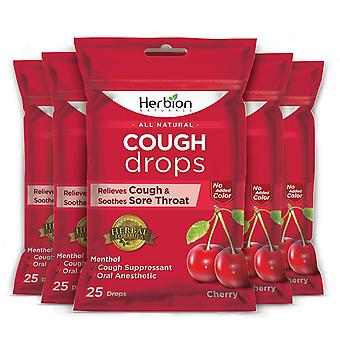 Herbion Naturals Cough Drops with Cherry Flavor – 25Ct Pouch (Pack of 5)