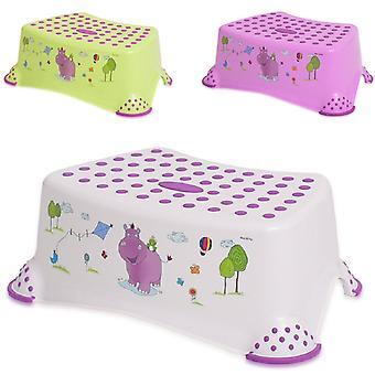 Lorelli single-tier children's Bad Stool Hippo, voetenbankje antislip, rubberen hobbels
