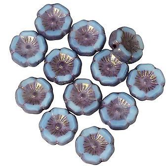 Tjeckiska glaspärlor, Hibiskusblomma 11mm, Himmelsblå Siden, Lavendelbrons, 1 Str, av Raven's Journey