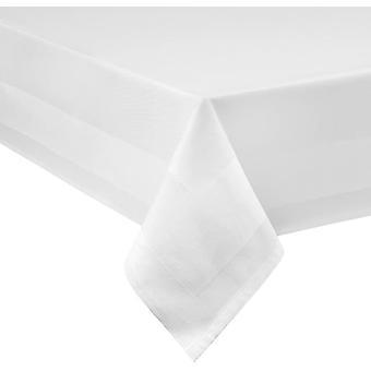 Wokex Damast Tischdecke weiß - 130 x 280 cm - bei 95°C waschbar Feinste Vollzwirn 100% Baumwolle