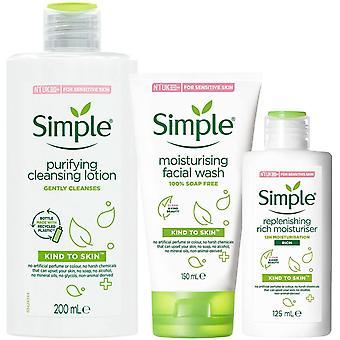 Simple Kind to Skin Bundle of Light Moisturiser, Cleansing Lotion & Face Wash