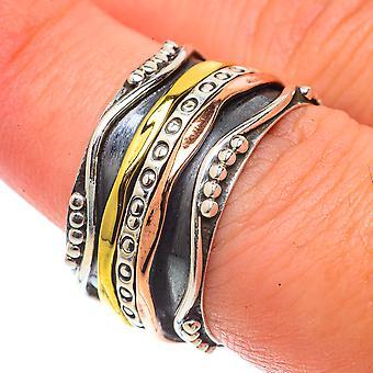 Meditation Spinner Ring Size 7.75 (925 Sterling Silver)  - Handmade Boho Vintage Jewelry RING66481