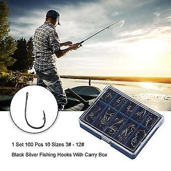 1 Set 100 st 10 storlekar 3# - 12# Svarta Silver fiskekrokar med bärlåda