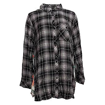 Tolani Collection Women's Top Plaid Tunic With Print Back Gray A383438