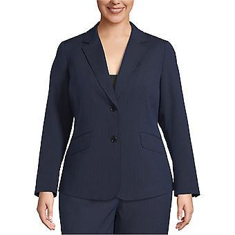 Anne Klein Womens Plus Size Seersucker 2-Button Blazer