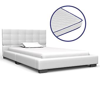 vidaXL bed with memory foam mattress white leatherette 90×200 cm