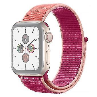 Cinturino in nylon Per Apple Watch serie 5 e 4 40 mm / 3 e 2 e 1 38 mm arancione + rosa rossa