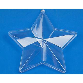 Enkele twee-delige 140mm stervormige duidelijk kunststof bauble ornament