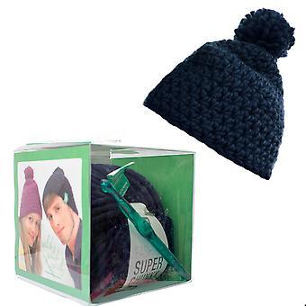 Crochet Hat with Wool Pom Pom Adults Knitting Craft Kit - Navy