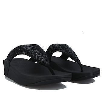 Damskie sandały Fit Flop Lottie Shimmercrystal Toe-Post w kolorze czarnym