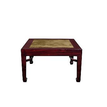 Fin Asianliving Antikk Kinesisk Sidebord med Marmor Topp W50xD50xH50cm