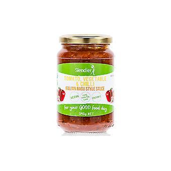 6 x 340g - Slendier Tomaat, Groente, & Chili Italiaanse Ragu Stijl Pastasaus