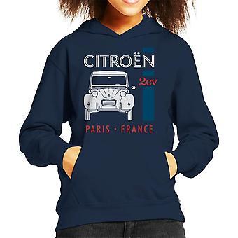 Citroen Vit 2CV Paris Frankrike Single Stripe Kid's Hooded Sweatshirt