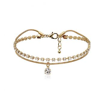 A063 Jewelry Female Simple Double Claw Chain Rhinestone Beach Foot Ornament Tassel Pendant Anklet