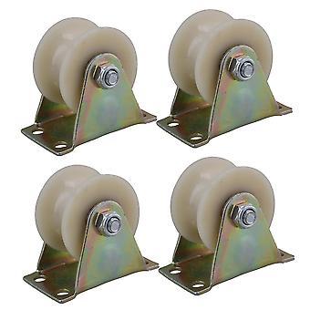 Casters 4pcs dia 2inch nylon u vormige groef spoorwiel voor kar deur fittingen