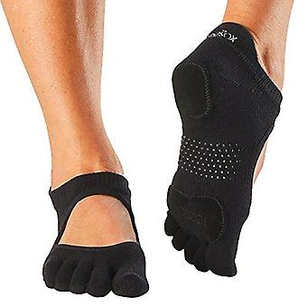 ToeSox Full Toe Prima Bellarina Yoga Pilates Dance Socks Fitted Heel Pad - Black