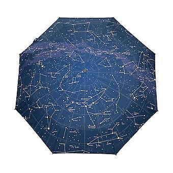 2021 Creative automatic 12 constellation universe galaxy space stars umbrella map starry sky folding umbrella parasol for women