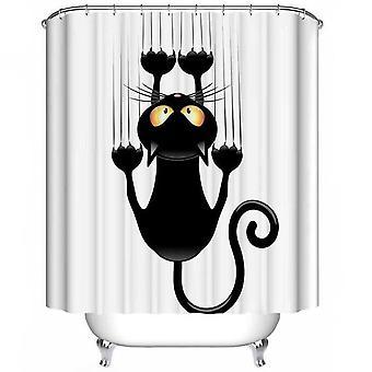 180 x 180cm Cortina de ducha Tela de poliéster Impermeable Baño Negro Gato