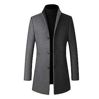 ميل رجال الشتاء معطف سليم صالح مبطن الصوف خندق المعاطف سميكة طويلة أنيقة معطف Peacoat