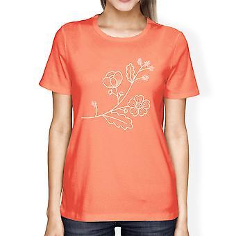 Flower Womens Peach Short Sleeve Graphic Tee Summer Cute Trip Shirt