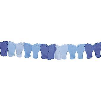 Girlande Füße 6m Deko Geburt blau Junge Babyparty Partygirlande