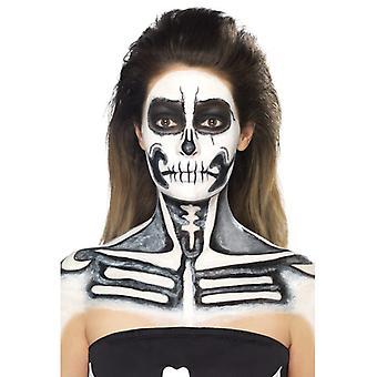 Vloeibare latex skelet schedel facepaint instellen 2 kleuren met Troffel make-up make-up LaTeX
