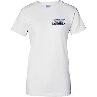 Islanti Grunge maan nimi lippu vaikutus - hyvät rinnassa Design t-paita