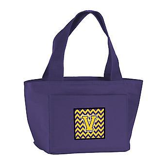 Carolines Treasures  CJ1041-VPR-8808 Letter V Chevron Purple and Gold Lunch Bag
