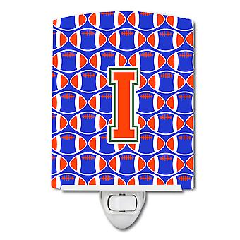 Letter I Football Green, Blue and Orange Ceramic Night Light