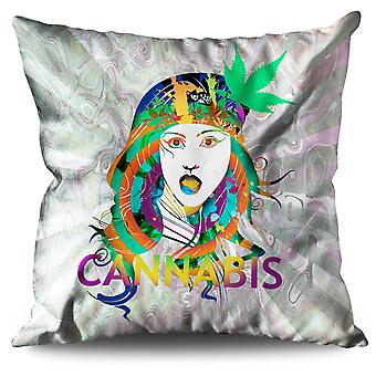 Girl Cannabis Pot Rasta Linen Cushion 30cm x 30cm | Wellcoda