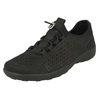 Las señoras retan suave entrenador Casual zapato R3500-40 - cuero gris - tamaño de Reino Unido 4 - tamaño de la UE 37 - tamaño de los E.E.U.U. 6