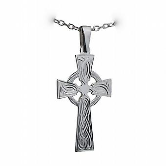Silver 44x26mm hand engraved knot pattern Celtic Cross with bail on a cable Chain 24 inches