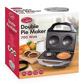 Quest Black/Silver Electric Deep Fill Non Stick Double 2 Pie Maker 700W