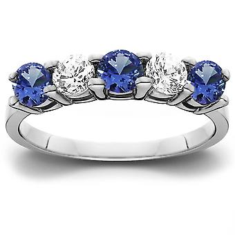 1 cttw Blue Sapphire & Diamond 5-Stone Wedding Anniversary Ring 14k White Gold