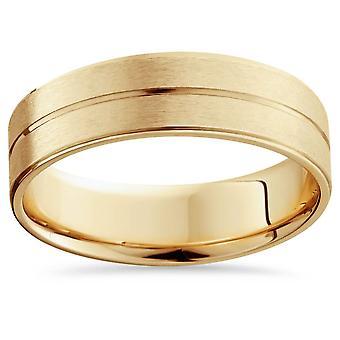 Mens 14k Gold Flat 6mm Brushed Comfort Fit Wedding Band