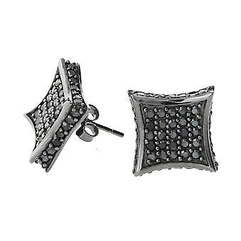 Kolczyki srebro 925 - wszystkie lodu 11 mm Czarny
