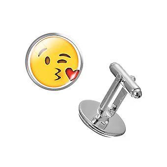 爱吻 PAIR 表情符号 袖扣 黄色 按钮 背景 快乐派对