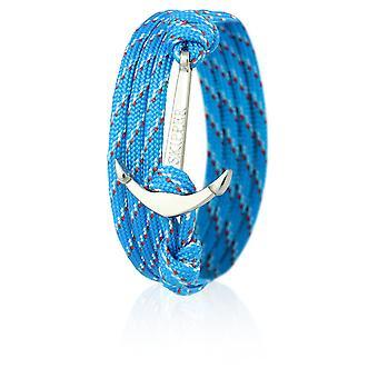 Skipper anchor bracelet bracelet nylon in light blue/red with silver anchor 6651