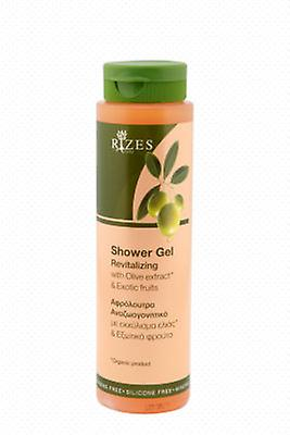 Revitalising shower gel with olive oil and exotic fruits.