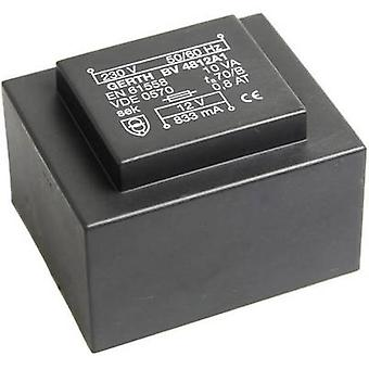 Gerth PT486002 PCB mount transformer 1 x 230 V 2 x 30 V AC 10 VA 166 mA