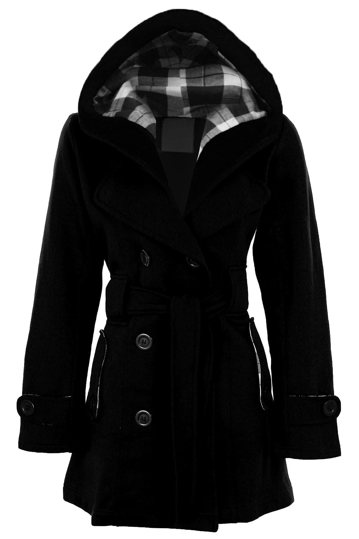 Naisten pitkät ristikudosvyö nappia hupullinen duffeli takki Naisten takki