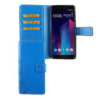 HTC U12 + Plus puhelimen tapauksessa suojakotelo kansi flip case kortti tarjotin sininen