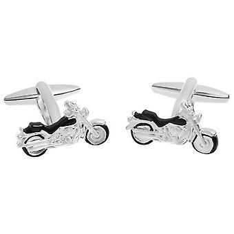 Zennor motorcykel manschettknappar - Silver/svart