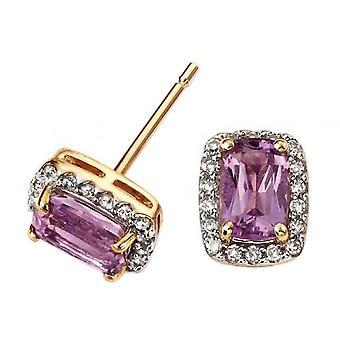 Elements Gold Amethyst Cushion Earrings - Purple/Gold