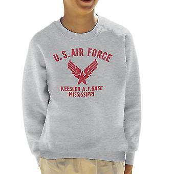 US Airforce Keesler AF Base Mississippi Red Text Kid's Sweatshirt