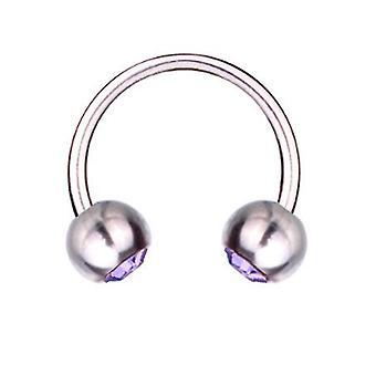 Fer à cheval Barbell circulaire Piercing titane 1,6 mm, SWAROVSKI éléments violet