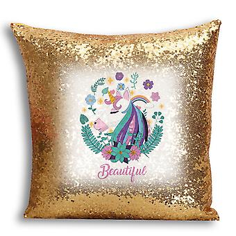 i-Tronixs - Unicorn Printed Design Gold Sequin Cushion / Pillow Cover for Home Decor - 13
