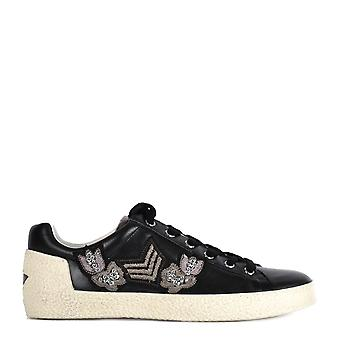 Ash Footwear Mens' Nash Black Leather Applique Trainer