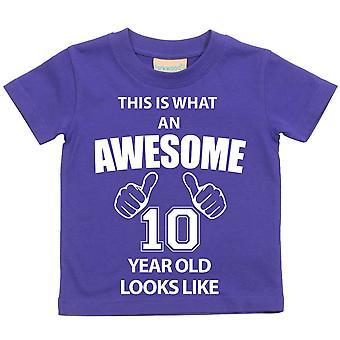 これは何の素晴らしい 10 年古いに見えるような紫の t シャツです。