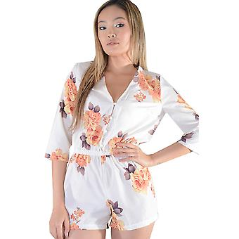 Lovemystyle White Floral Playsuit With Button Front